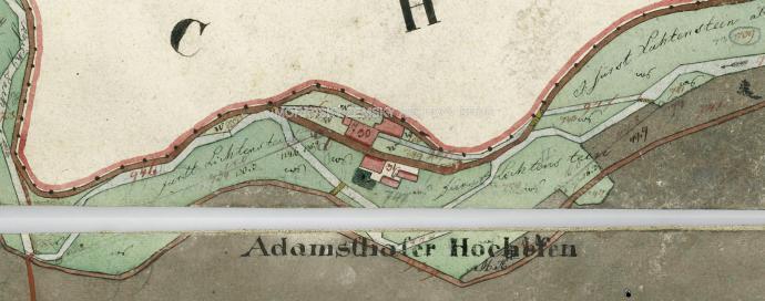 Stará huť u Adamova na mapě stabilního katastru z roku 1826