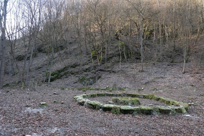 Stará huť u Adamova, tajemný kruh, v pozadí hřeben s lichtenštejnskými krasostavbami