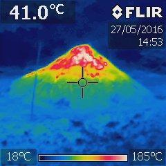 Rozložení teplot na povrchu milíře 1