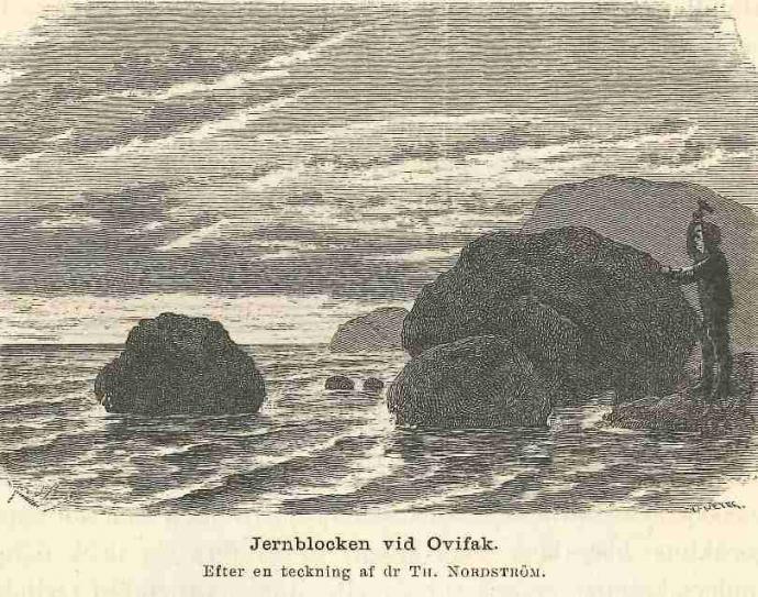 Rytina nálezu bloku železa na ostrově Disko u Grónska