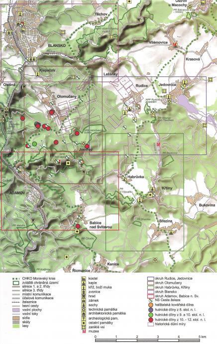 Cesta železa Moravským krasem - naučná stezka - mapa