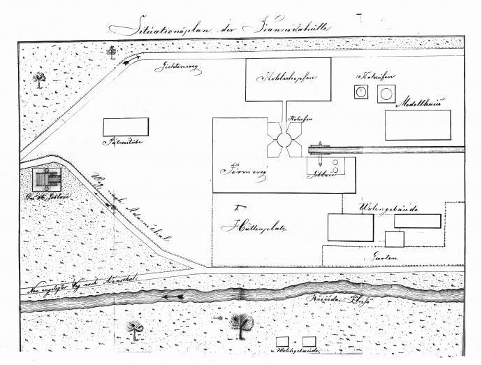 Stará huť u Adamova - plán z roku 1852